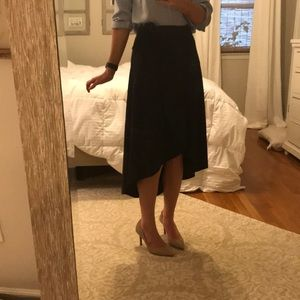Dresses & Skirts - Suede navy high-low wrap skirt